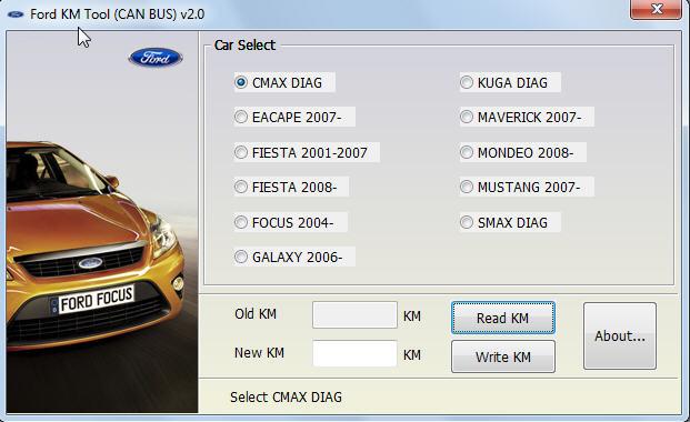 Интерфейс программы для Ford KM Tool